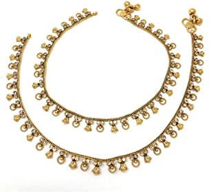 Duel on Jewel Ethnic Pakistani Indian Gold Plated Bridal Payal Anklet Pair with Soft Bells For Women Ethnic Jewelry
