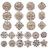 MEEJOA Lot 24pc Clear Rhinestone Crystal Flower Brooches Pins