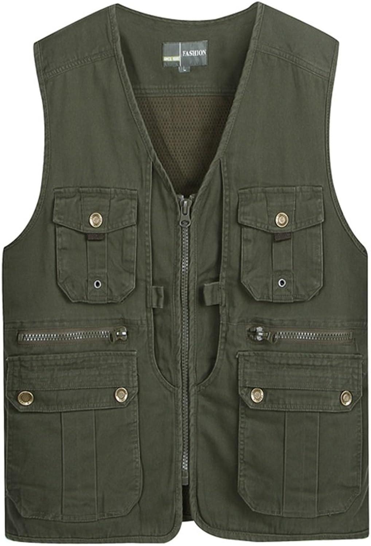Gilets Pocket Vest Men Outdoor Photography Camping Hunting Fishing Vest MultiPocket Vest Tooling Cotton (color   Green, Size   XXXL)