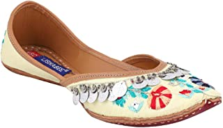 MSC Leather Ethnic Yellow Flat Bellie for Women