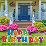 QPS Happy Birthday Yard Signs with Stakes - 16' Colorful Large Lawn Letters Spelling Happy Birthday - 28 Metal Stakes - 13 Total Letter Lawn Signs - Happy Birthday