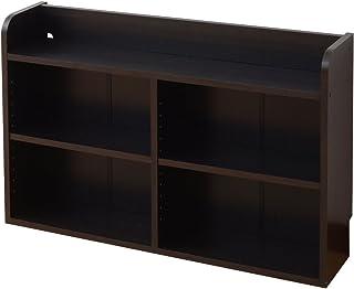 山善 ヘッドボード 幅90×奥行20×高さ60cm コード通し 棚板可動 本棚 ラック 組立品 ダークブラウン BHSR-6090(DBR)