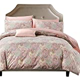 Brandream Pink Paisley Duvet Cover King Size & Pillowcases Set Hotel Luxury 800-Thread-Count Egyptian Quality Bedding with Button Closure Super Soft Paisley Printed Design Bedding Set King Size,3pcs