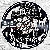 jjyyy Barcelona Reloj de Pared de Vinilo Reloj de Pared de Estilo...