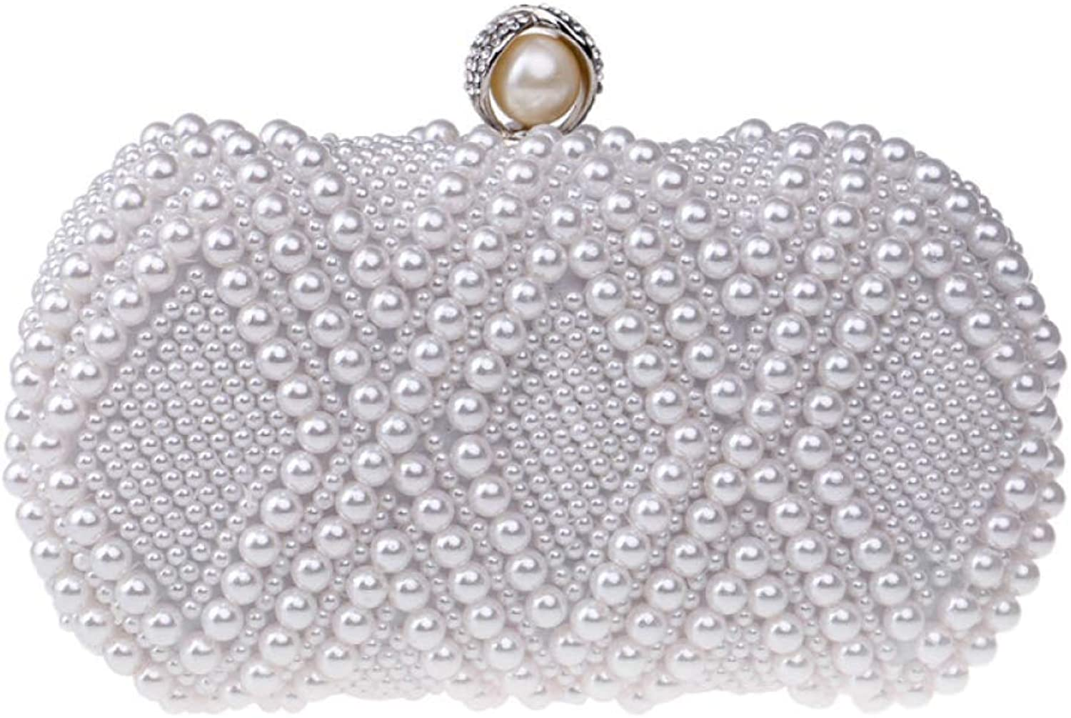AKEY Clutch Bag Ladies Clutch Bag Glitter Handmade Pearl Beaded Dress Evening Bag Wedding Purse Party Prom Handbags Evening Bag for Bridal (color   White, Size   20106.5cm)