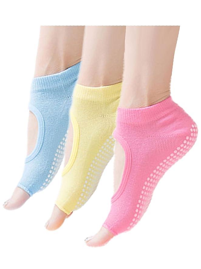 説得このベジタリアン[MIKA&MAYA] ヨガ 靴下 5本指 3足セット 指なし ソックス フットカバー レディース