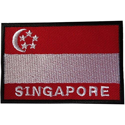 Aufnäher mit Singapur-Flagge, zum Aufbügeln oder Aufnähen, bestickt