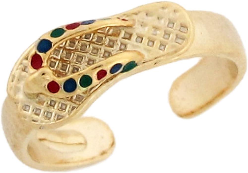 10k Yellow Gold Enamel Flip Flop Beach Sandle Ladies Toe Ring