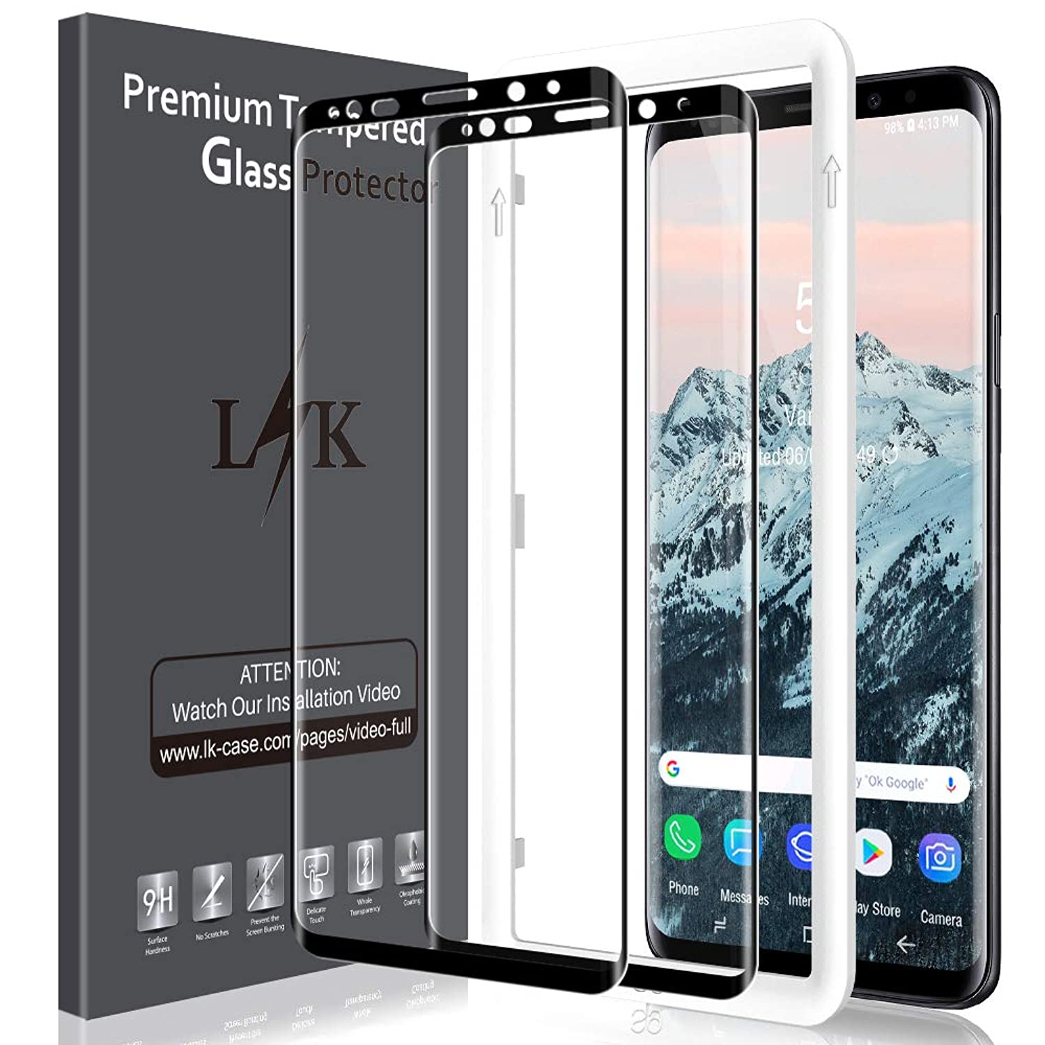LK [2 Pack] Screen Protector for Samsung Galaxy S9 Tempered Glass [Full Adhesive] HD Clear Easy Installation Alignment Frame [Fit with Most Cases] with Lifetime Replacement Warranty
