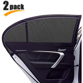 GOLDFLOWER Universal Car Side Window Sun Shade, 2 Pack Car Sun Shade for Side Window, Protects Your Kids from Sun Burn, Heats and UV Rays, Double Layer Design, Fits Most of Vehicle