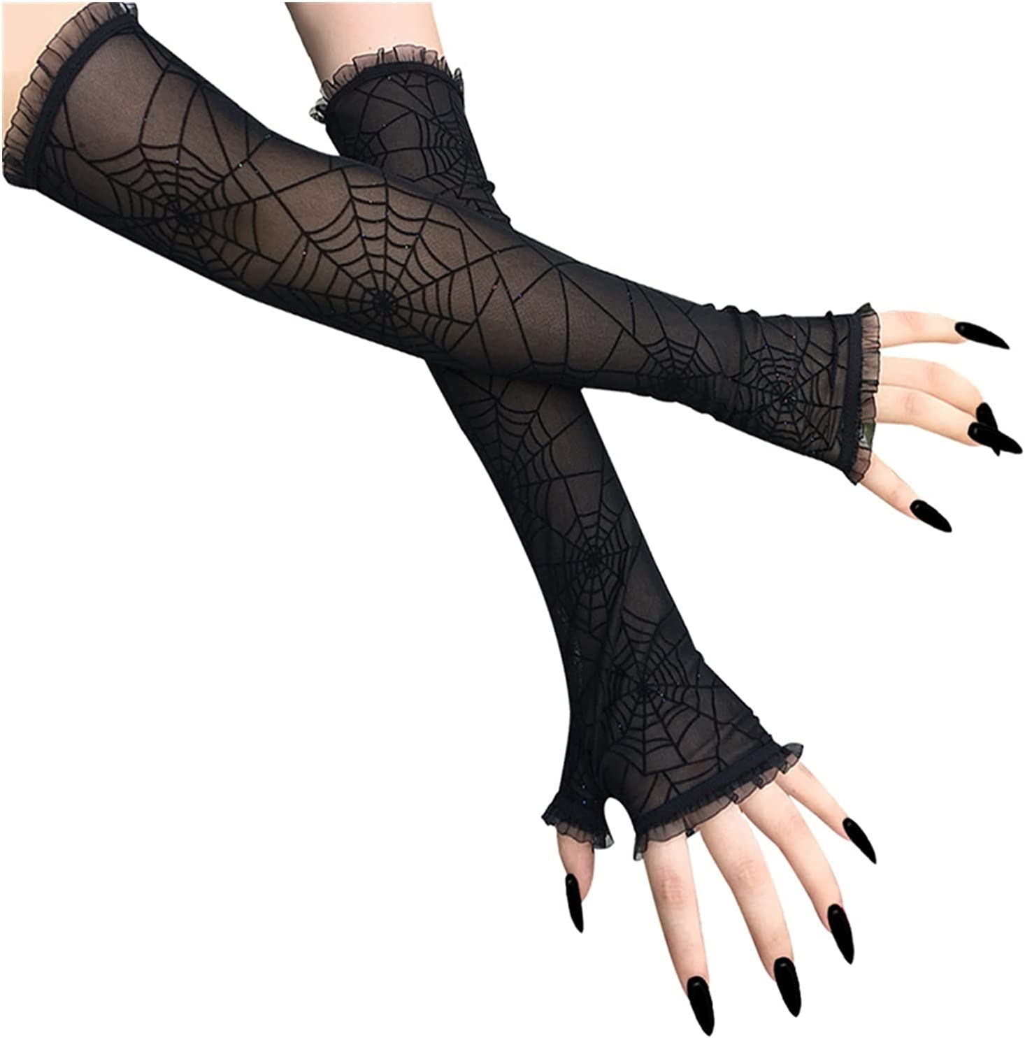 PENGYMY Sun Protection Gloves Women Mesh Transparent Glove Finger Cuff Spider Web Lace Glove 2021 Cool Halloween Rock Party Hip-Hop Gloves (Farbe : Black)