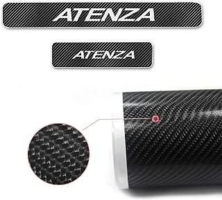 適用マツダアテンザAtenza新型炭素繊維設計スカッフプレート プロテクター フロント リア キッキングプレート サイドシルプレート+白高輝度反射ストライプ(4枚 1台分)外装内装サイドカスタムパーツ