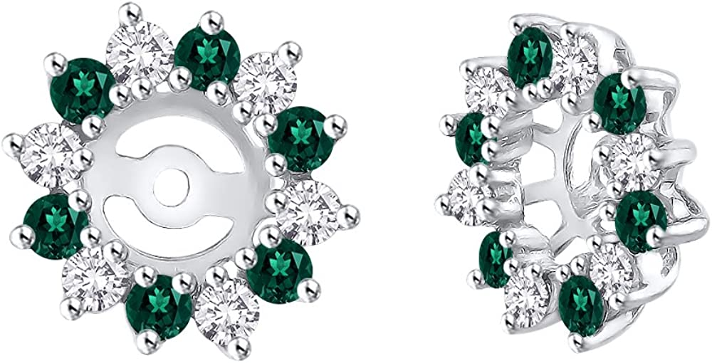 KATARINA Alternating Diamond with Emerald Earring Jackets in 14K Gold (5/8 cttw) (Color JK, Clarity I2-I3)