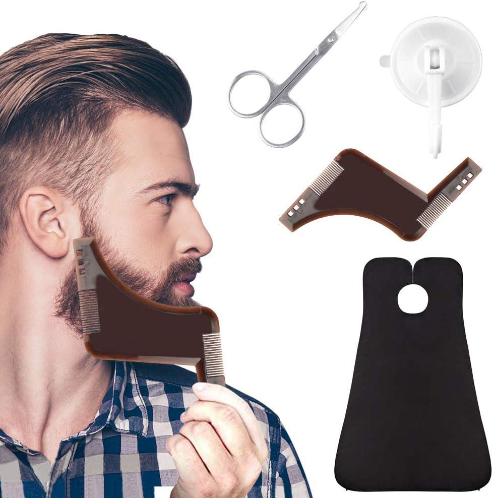 EMAGEREN Delantal de Barba Babero de Barba Capa para Barba Impermeable Barba Delantal con 2 Ventosas+1 Peine de Afeitar+1 Par de Tijeras Kit de Afeitado para Barba Simétrica Contorno de Barba - Negro