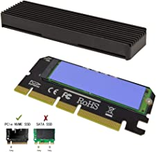 shinedisk NVME Adapter PCIe x16 with Heat Sink, M.2 SSD Key M to PCI Express Expansion Card, Support PCIe x4 x8 x16 Slot, Support 2230 2242 2260 2280, Compatible for Windows XP / 7/8 / 10