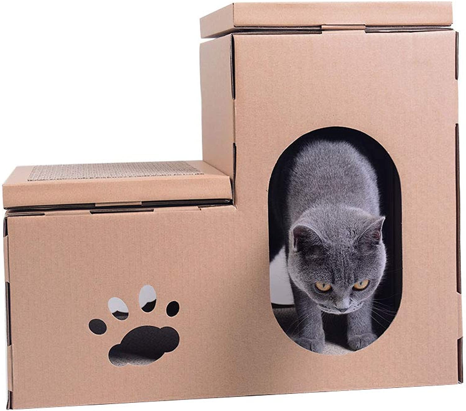 DIY Cat Room Corrugated Cat Litter Cat House Entertainment Rest Dualuse Large Cat Toy Cat Grinding Claw Cat Scratch Board ( Design   1 )