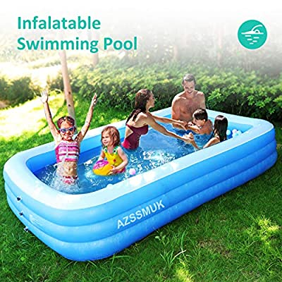 "AZSSMUK Inflatable Pool,Full-Sized Adult Inflatable Swimming Pool Kiddie Pools for Family Kids, Adults, Infant, Garden, Backyard,Water Party,120"" X 72"" X 22"",Summer Water Party,Family Swimming Center"