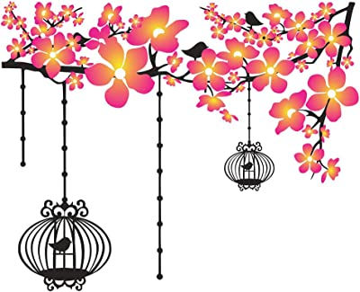 DivineDesigns Colorful Flowers with Cages Sticker | Wall Sticker for Living Room/Bedroom/Office and All Decorative Stickers