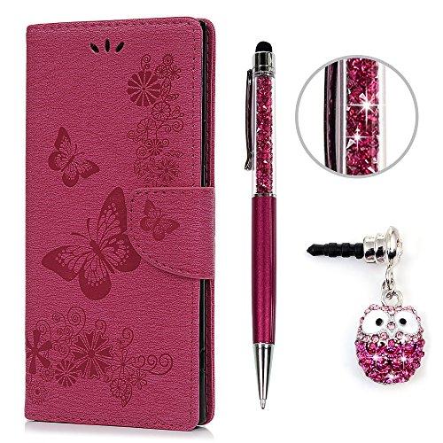 KASOS Hülle für Sony Xperia XA1 Ultra Schutzhülle Leder Handyhülle Brieftasche Stand Halter PU Tasche Kartenfach Magnetverschluss Ledertasche Cover, Große Schmetterling Rosa Rot + Stöpsel + Stylus