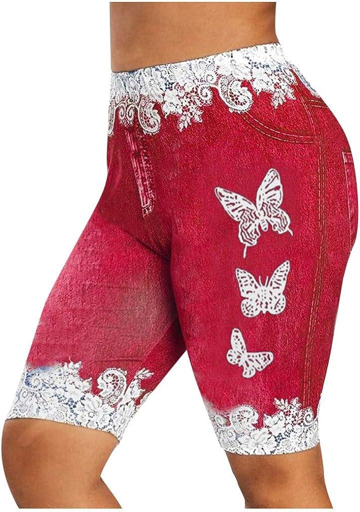 WUAI Bermuda Shorts for Women Plus Size Capri Yoga Shorts High Waist Ripped Jean Shorts Workout Leggings with Pockets