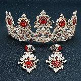 XNheadPS Tiare Nuptiale Boucles d'oreilles Couronne De Cristal Rouge Accessoires De Cheveux Mis Accessoires De Mariage De Style Baroque
