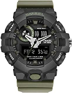 Men'S Electronic Watch, Analog Digital 50M Waterproof Military Sports Watch Double Dial Multi-Function LCD Backlight Shock...