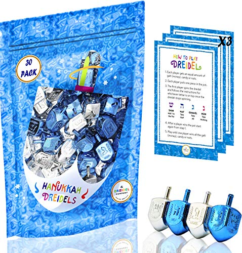 Hanukkah Plastic Silver & Blue Metallic Dreidels (30-Pack Bag)