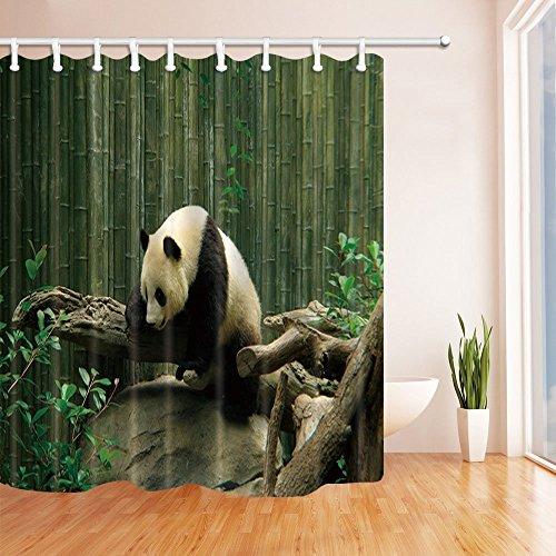 CDHBH Wild Tier gegen Bambus Stoff Polyester Duschvorhänge für Badezimmer, Safari, Panda, Spielen, für den Kofferraum, wasserdicht Duschvorhang Badezimmer Duschvorhang Haken inklusive 71x 71in