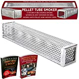 Kaduf Pellet Smoker Tube 12'' 5 Hours of Extra Smoke for Any Grill or Smoker - BBQ, Hot & Cold Smoking Flavor for Cheese, Fish, Pork, Ribs with Wood Pellets - eBook Smoking Recipes Included