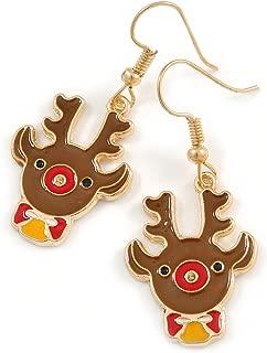 Christmas Reindeer Brown/Red/Yellow Enamel Drop Earrings In Gold Tone - 45mm Tall