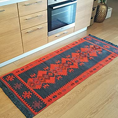 Modern Bohemian Style Area Rug & Runner, 2.5 X 6 feet, Washable, Natural Dye Colors, Two-sided (reversable), Perfect for Kitchen, Hallway, Bathroom (Charcoal Grey-Orange)