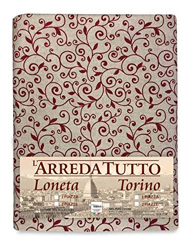 tex family Telo ARREDO COPRITUTTO Gran Foulard COPRILETTO COPRIDIVANO Tessuto Dory ARABESCO Rosso - 1 Piazza