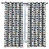 BAIVIT Dreieckige Verdunkelungsvorhänge - 2 Panels, Moderne geometrische gedruckte Kurze drapiert Eyelet Top, für Wohnzimmer, Schlafzimmer, Kinder Study Room,Rot,W140xH180cm