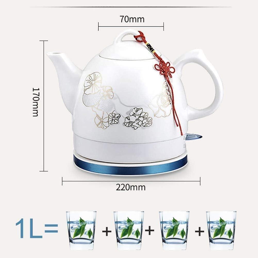 Leilims Céramique Bouilloire électrique sans Fil Eau Teapot, Teapot-rétro 1 L Jug, 1000W Eau Rapide for Le thé, café Rapide (Color : B) A