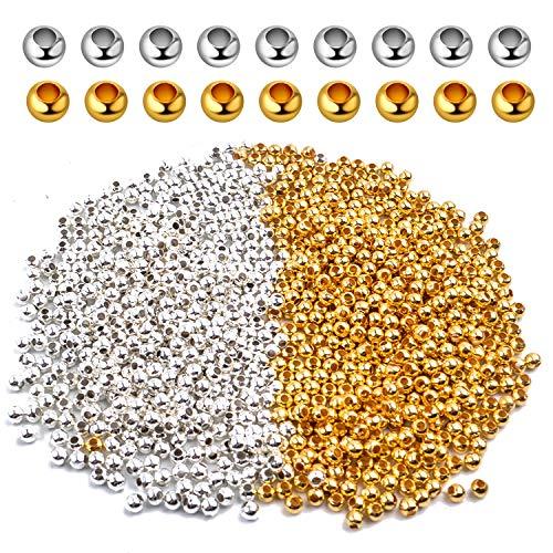 Perles à Ecraser 3mm, 1000pcs Mini Perles D'espacement Rondes Perles Intercalaires Acier Perles Rondelles pour Fabrication de Bijoux Bracelet Collier, Argent et Or