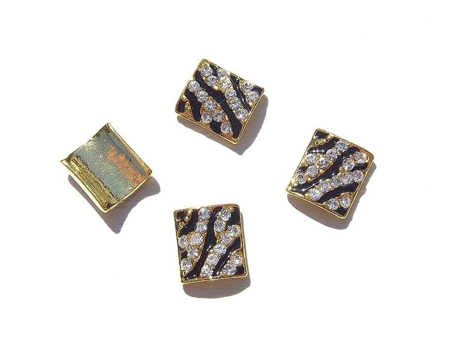 持続的ふつうのど【jewel】ジュエリーネイル ゼブラ デコパーツ K 縦9mm 横7.5mm 手芸 材料 ネイルアート パーツ 素材 レジンパーツ