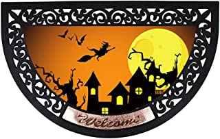 WHY Decor Half Round Halloween Welcome Doormat Non-Slip Rubber Mat Outdoor/Indoor Entry Way Patio Rug with Haunting House ...