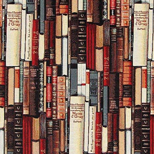 Fabulous Fabrics Gobelin Bücher wollweiss — Meterware ab 0,5m — zum Nähen von Kissen, Taschen und Vorhänge