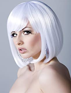 Short White Hair Wigs Bob Wig with Bangs for Women Straight Cosplay Wig 12 Inch Natural Looking Wig As Real Hair BU029WH