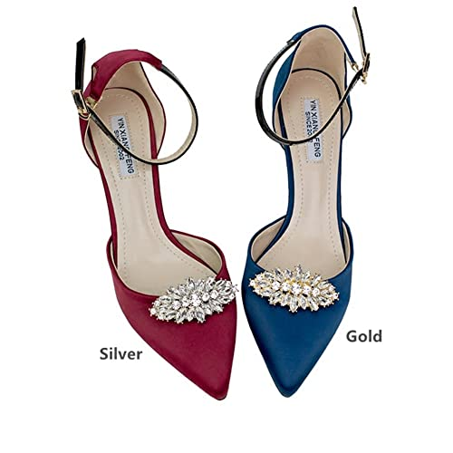Casualfashion Fashion Decorative Silver Gold Tone Crystal Rhinestone Shoes  Clutch Dress Hat Shoe Clips 2 8153bb0c1aac