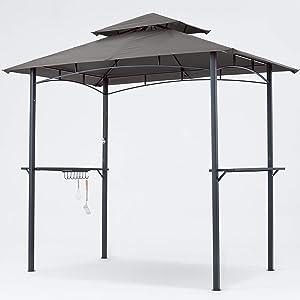 MASTERCANOPY Grill Gazebo 8 x 5 Double Tiered Outdoor BBQ Gazebo Canopy with LED Light (Gray)