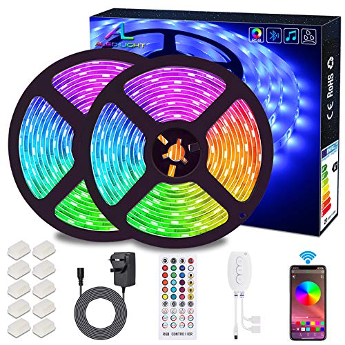 Bluetooth LED Strip Lights 10M, ALED LIGHT Waterproof 300LEDs RGB 5050 LED Stripes Lights Smartphone Controlled with Bluetooth Controller & Remote for Home Garden Outdoor Decoration