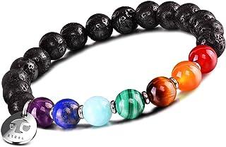 JOXFA Natural Seven Color Bracelet for Men Women, 8mm Lava Rock Aromatherapy Essential Oil Diffuser Bracelet Elastic Stret...