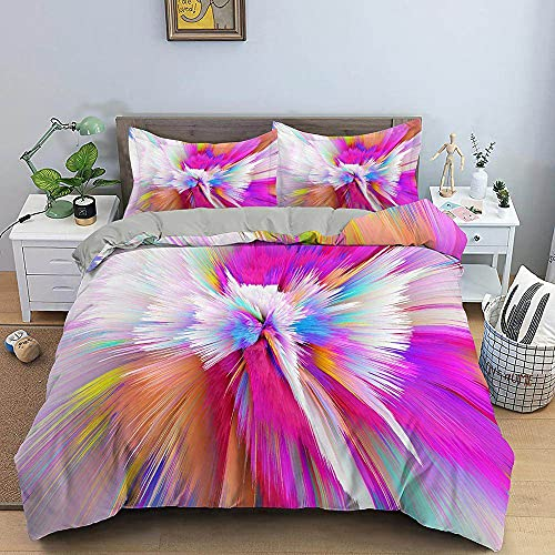 Abstract Art Duvet Cover 3D Color Vortex Colorful Pink Luxury Quilt Cover Home Textiles Bedding Set Single Double Queen King Size Soft Set for Girl Boy Teens Adult,King
