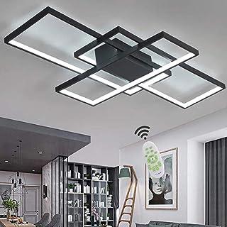 Luminaire LED Plafonnier Dimmable Salon Chambre Lampe Plafond Avec Telecommande, Moderne Carré Acrylique Ombre Aluminium D...