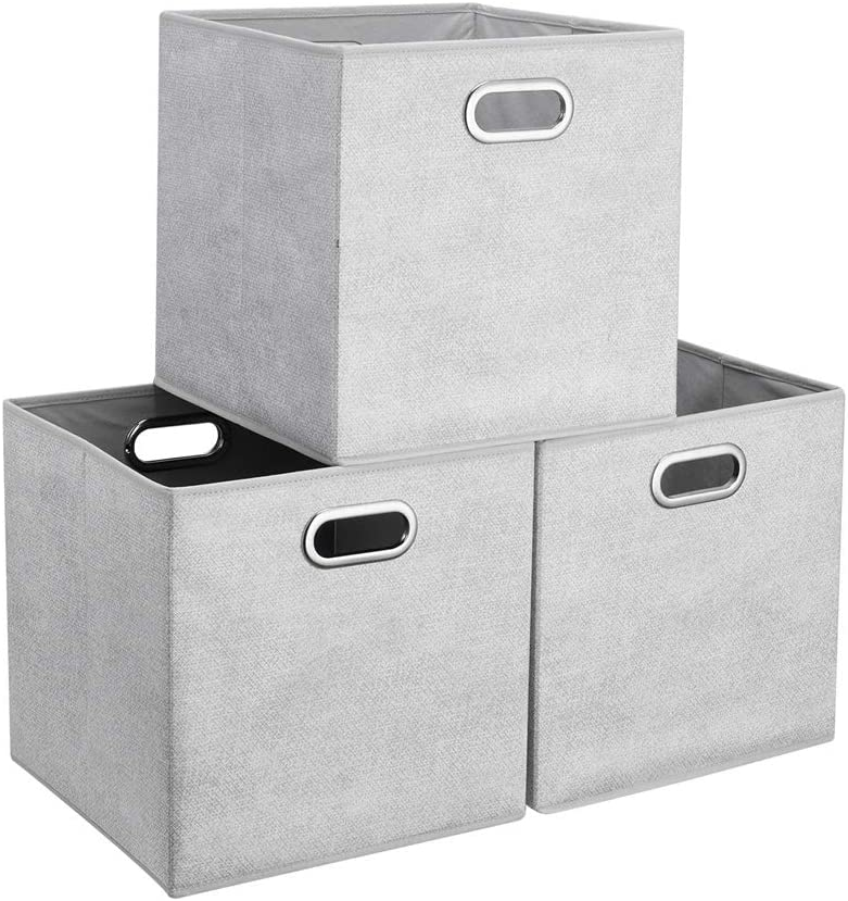 3 Cube Storage Bins Grey White safety 13x13x13 Large special price Grid Foldable Inch Print