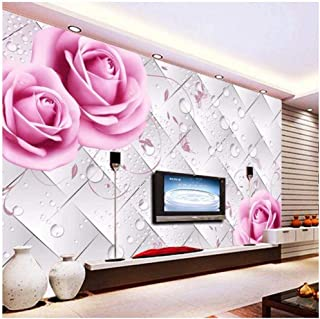 3D Water Pink Rose Flower Wallpaper Mural Printed Murals for Living Room Sofa Background Wall Art Decor Custom Floral Wall Paper