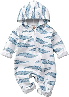 Newborn Infant Baby Boy Fall Clothes Palm Leaf Print Zip Up Hooded Romper