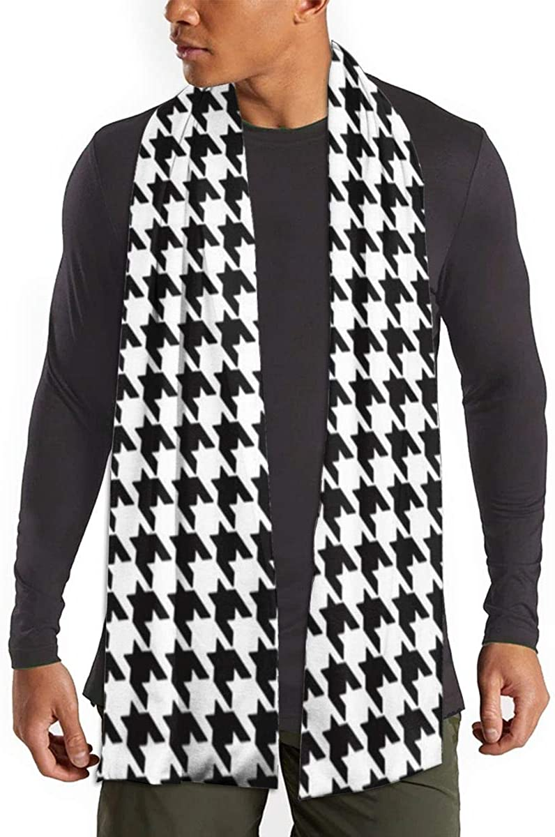Cashmere Feel Scarf - Super Soft & Warm for Winter - Elegant Looks for Women & Men - Black And White Houndstooth