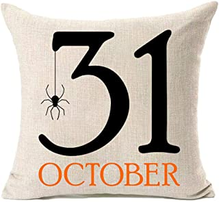 FAZHISHUN Halloween Decor October 31 Spider Cotton Linen Throw Pillow Covers for Couch Sofa Home Decorative 18x18 Inches